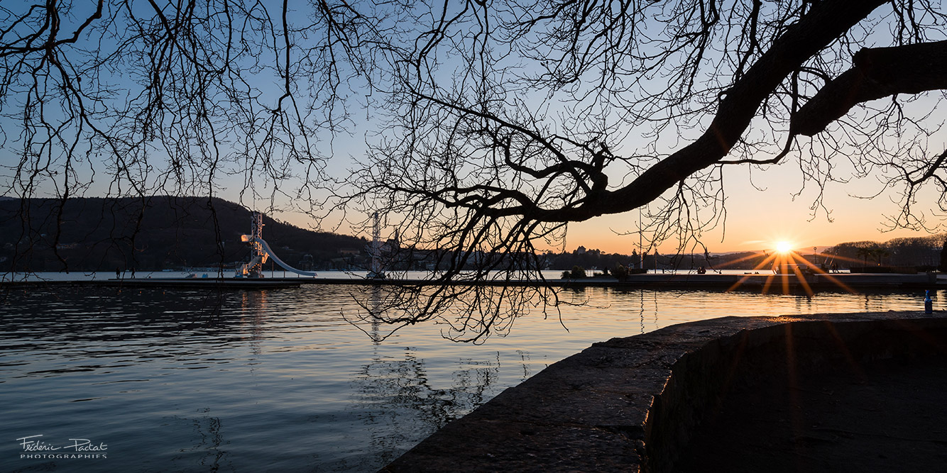 coucher soleil lac Annecy